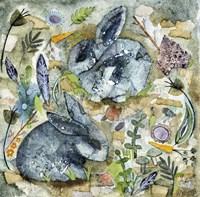 Rainy Day Rabbits Fine Art Print