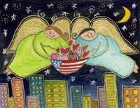 Two Big Diva Angels With Our Flag Fine Art Print