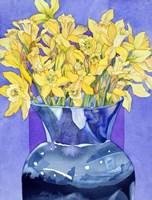 Daffodils In Cobalt Fine Art Print