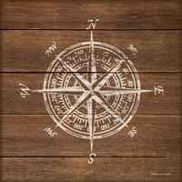 Compass On Wood Fine Art Print