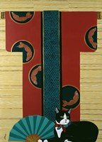 Cat And Kimono Fine Art Print