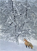 Fox In Snow Fine Art Print