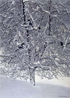 Snow Tree With Magpies Fine Art Print