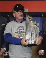 Joe Maddon with the World Series Championship Trophy Game 7 of the 2016 World Series Fine Art Print
