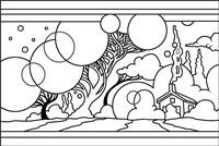 Circle Tree Landscape Lineart Fine Art Print