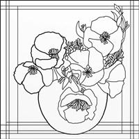 Poppy Bowl Lineart Fine Art Print