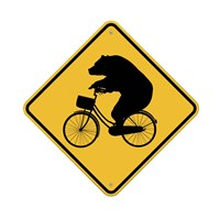 Bears On Bikes Crossing Sign Framed Print
