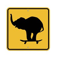 Elephant On Skateboard Crossing Sign Framed Print