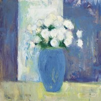 Ranunculi in Blue Vase White Flowers Fine Art Print