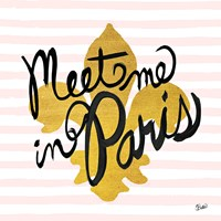 Meet Me in Paris Black and Gold Fine Art Print