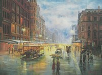 Rainy Night - Collins St. Melbourne Fine Art Print