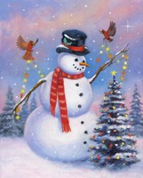 Snowman Decorating the Tree Fine Art Print