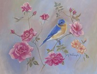Blue Bird In Roses Fine Art Print