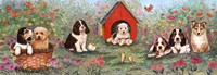 Puppies And Doghouse Border Fine Art Print
