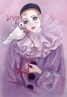 Pierrot And Dove Fine Art Print