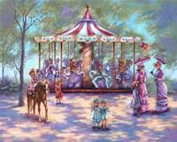 Red Carousel Fine Art Print