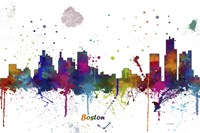 Boston Mass Skyline Multi Colored 1 Fine Art Print