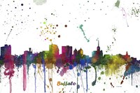 Buffalo New York Skyline Multi Colored 1 Fine Art Print