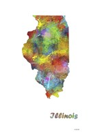 Illinois State Map 1 Fine Art Print