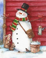 Red Barn Snowman with Friends Fine Art Print