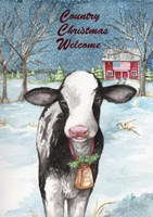 Country Christmas Cow Flag Fine Art Print