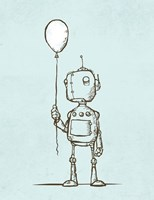 Robot Balloon Framed Print