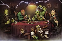 Monsters Playing Poker Framed Print
