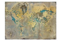Golden Teal World Map Fine Art Print