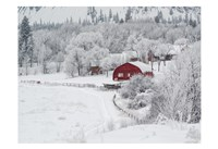 Farm In The Snow Fine Art Print
