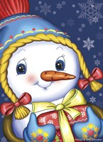Snow Girl with a Gift Fine Art Print