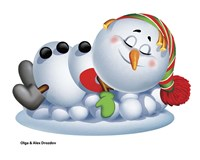 Sleeping Snowman Fine Art Print