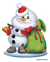 Snowman With A Bag Of Gifts Fine Art Print