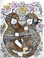 2 Garden Cats Fine Art Print