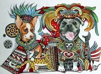 Chihuahua and Pitbull in Mexico Fine Art Print