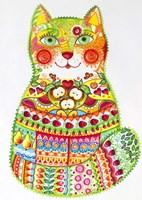 Green Folk Cat 1 Fine Art Print