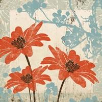 Orange & Blue Floral Fine Art Print