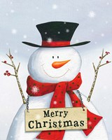 Merry Christmas Snowman Fine Art Print