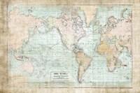 World Map Vintage 1913 Framed Print