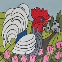 Rooster in the Tulip Garden Fine Art Print