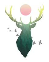 Green Ombre Forest in Stag Silhouette Fine Art Print