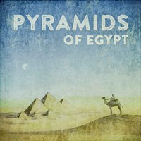 Vintage Pyramids of Giza with Camels, Egypt, Africa Fine Art Print