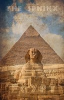 Vintage Great Sphinx of Giza, Pyramids, Egypt, Africa Fine Art Print