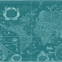 Blueprint World Map, teal Fine Art Print