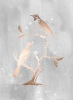 Rose Gold Foil Birds II on Grey Wash Fine Art Print