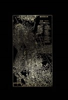 Gold Foil City Map Boston on Black Fine Art Print