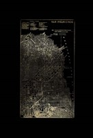 Gold Foil City Map San Francisco on Black Fine Art Print