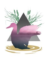 Pink Ombre River in Duck Silhouette Fine Art Print