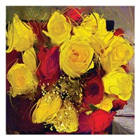 Yellow And Red Roses Fine Art Print