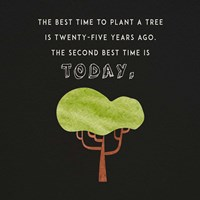 The Best Time to Plant a Tree on Black Fine Art Print