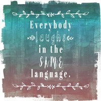 Ombre Everybody Laughs Teal Fine Art Print